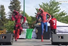 deadpool y spiderman bailando shake it off